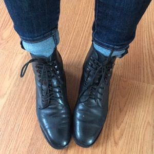 Lace up leather hipster boots